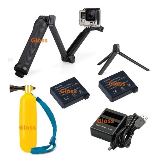 Kit Carregador Duplo Bateria Gopro Hero 4 Way Flutuante