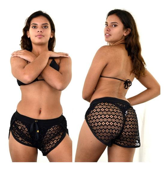 Shorts Curto Feminino Moda Praia Transparente Com Renda 2018