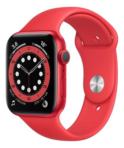 Imagen 1 de 8 de Apple Watch  Series 6 (GPS) - Caja de aluminio (PRODUCT)RED de 44 mm - Correa deportiva (PRODUCT)RED
