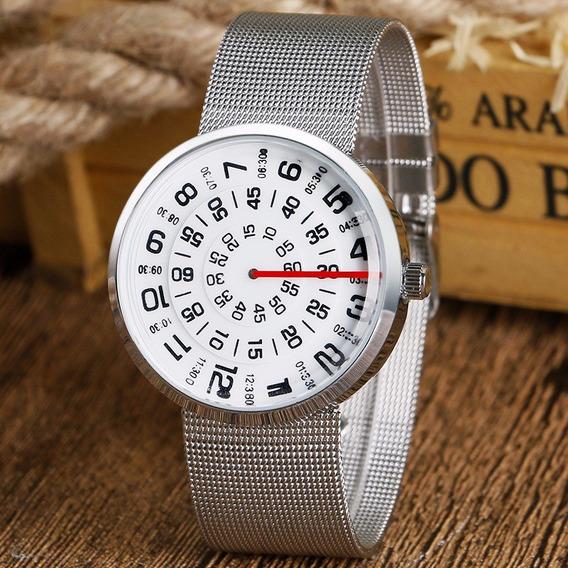 Relógio Twister Circular Minimalista Branco