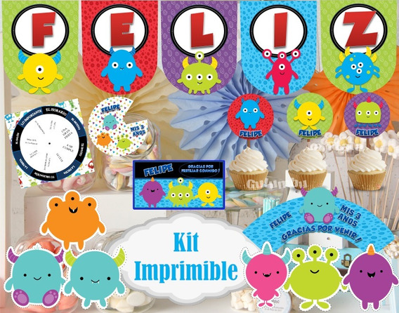 Kit Imprimible Monstruitos Monstruos Infantiles Candy Bar