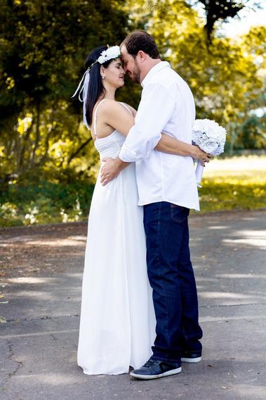 Vestido Noiva Off White Civil Pré Weeding Frete Gratis Usad