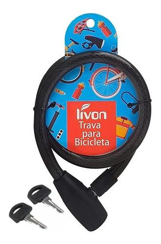 Imagem 1 de 3 de Trava Cabo Aço Cadeado Bike Estepe 2 Chaves Tranca Bicicleta