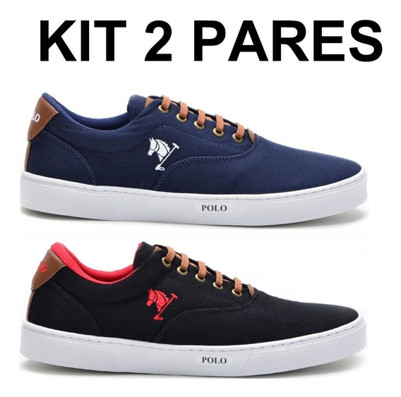 Kit 2 Pares Sapatenis Sapato Tenis Masculino Polo Joy