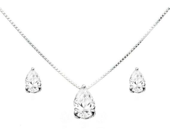 Colar E Brinco Gota Com Diamante Sintético Em Prata 950