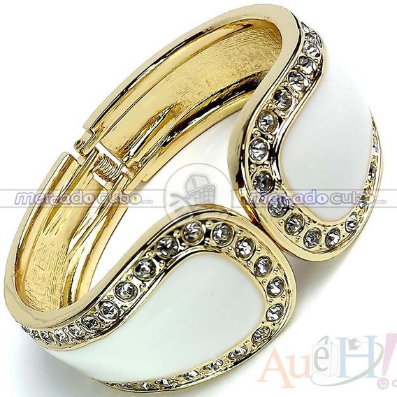 Bracelete Folheado Ouro 18k C/ 92 Cristais Austríacos De 4mm