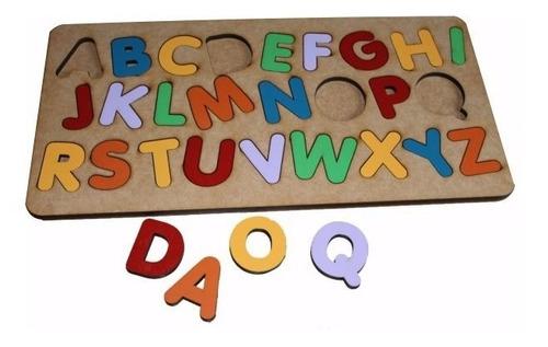 Brinquedo Tabuleiro Alfabeto Educativo Pedagógico Mdf Madeir