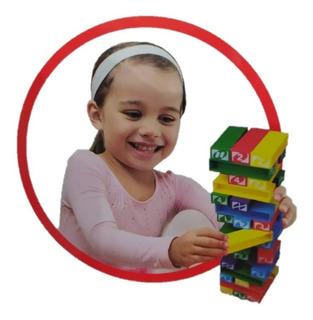 Torre Puzzle Jenga Para Niños Plastico 45pz Juego Mesa