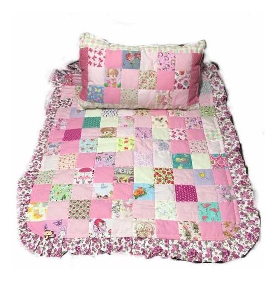 Manta E Travesseiro De Retalho Para Bebê Menina