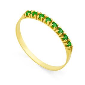 Anel De Ouro 18k Meia Aliança Com 8 Esmeraldas De 2 Pontos C