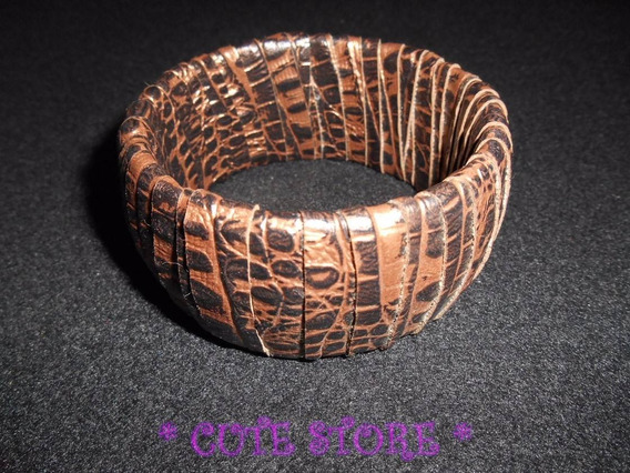 Pulseira / Bracelete Animal Print Bronze E Marrom