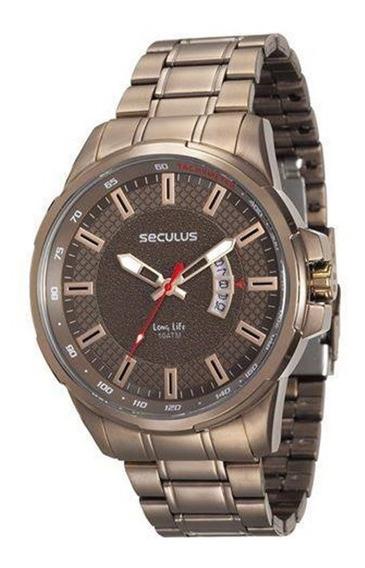 Relógio Seculus Masculino Chocolate Marrom 23576gpsvma2