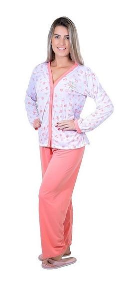 Kit 2 Pijama Feminino Longo Blusa Aberta Botão Inverno 182