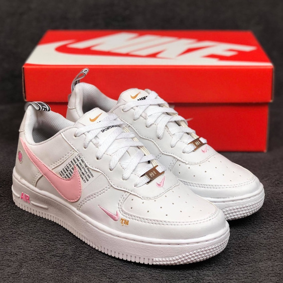 Tênis Nike Air Force Branco C/ Rosa