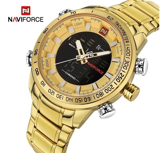Relógio Naviforce 9093 Dourado De Pulso Militar Masculino
