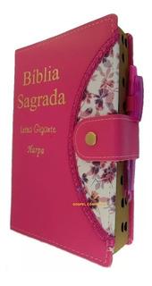 Bíblia Sagrada Letra Gigante Harpa Pink Botão E Caneta