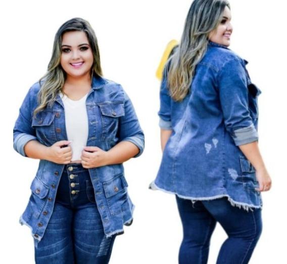 Jaqueta Jeans Plus Size Com 4 Bolsos No 48 Max Colete