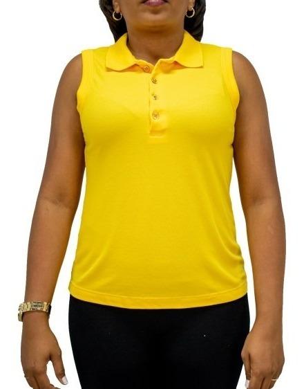 Camisa Polo Feminina Lisa Original Regata Cavada Uniforme