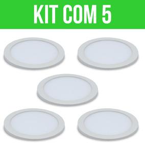 Plafon Painel Led Redondo De Embutir 25w Kit Com 05 Cod:958