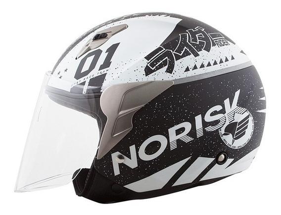 Capacete Norisk Jet Tokyo Preto/branco Fosco