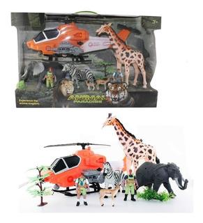 Set Grande Animal Paradise C/animales, Helicóptero Original