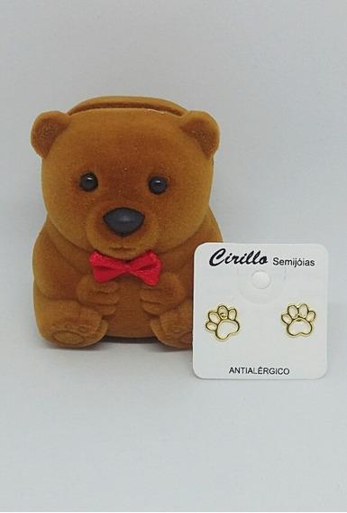 Brinco Pet Pata Cachorro Pegada Folheado Ouro Caixinha Luxo De Brinde C Garantia Banhado Ouro D Qualidade Pode Molhar
