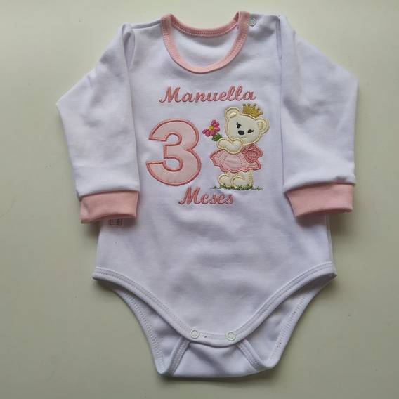 Body 100% Algodão Bordado Personalizado Roupa De Bebê Aniversario Menina Mes