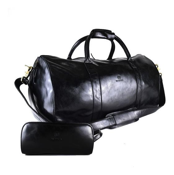 Maleta Duffel Bag Woge Grande 100% Piel Negra Estuche Gratis