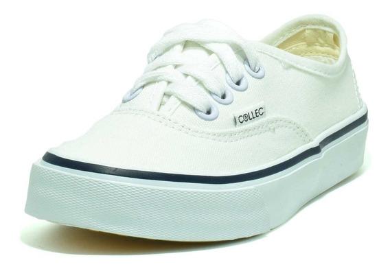Collec Tenis E-75 Lona Canvas Infantil Nin@s Escolar Blanco