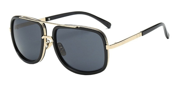 Óculos Sol Masculino Feminino Quadrado Preto Retro Vintage