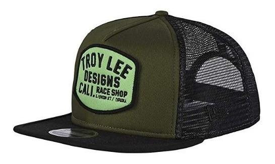 Gorra Troy Lee Designs Snapback Verde Negra Plana Broche Fox