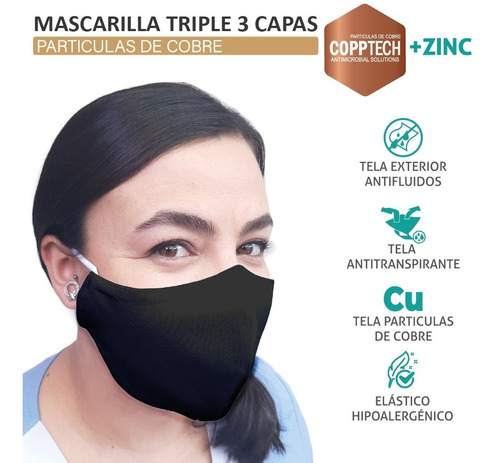 Pack 5 Mascarillas Cobre Triple 3 Capa Antifluidos +zinc