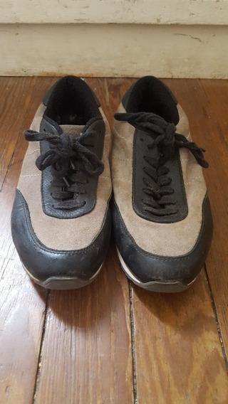 Zapatillas Doma De Gamuza Y Cuero Talle 38