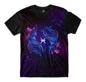 Camisa Camiseta Masculina Signos Peixes Galáxia Full Print