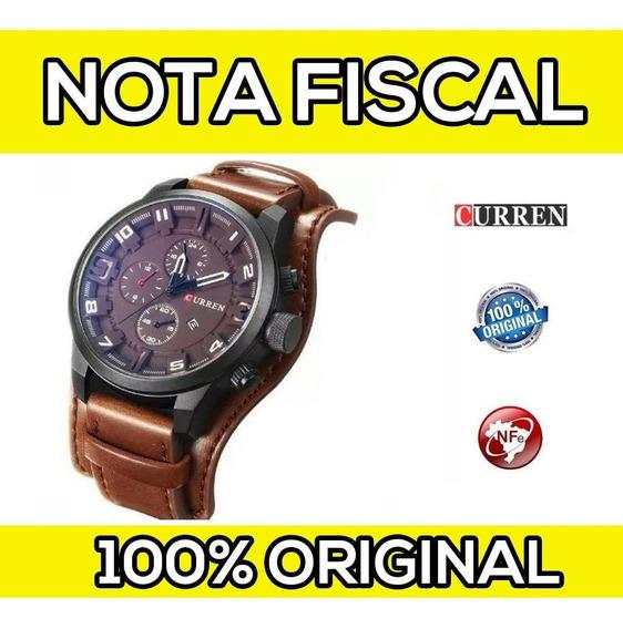 Relógio Masc Curren Original Couro Com Nota Fiscal