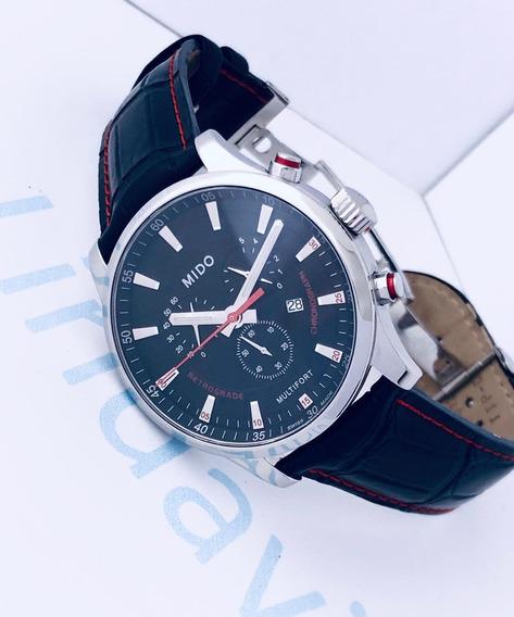 Reloj Mido Multifort Retrógrado Piel Negra