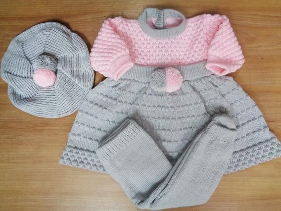 Vestido Com Boina Para Bebê Pompom