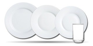 Set Vajilla Luminarc Evolution Platos Playos Blancos 24 Pz