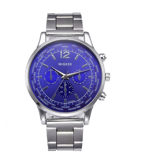 Relógio Luxo Masculino Migeer Esporte Pulseira Inoxidável