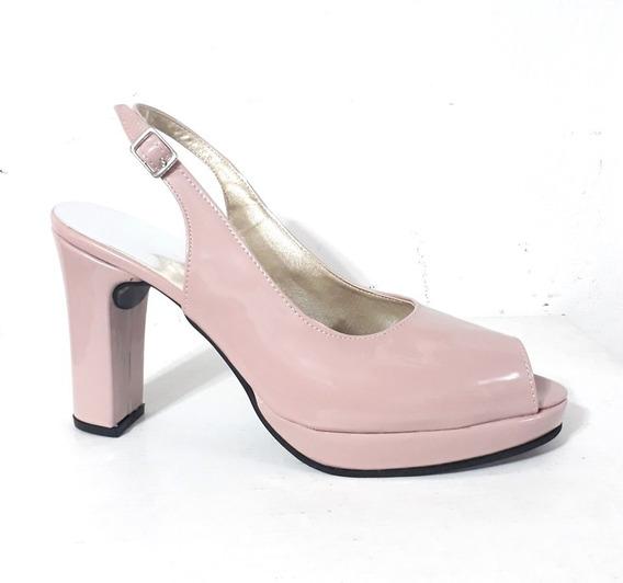 Huma10 Sandalia Zueco B/p Talles Grandes Mujer Rosa/nude