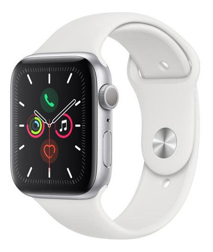 Apple Watch Series 5 Prata Pulseira Sport Band Branca