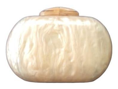 Bolsa Clutch Feminina Oval Madreperola Luxo Moderna Atual