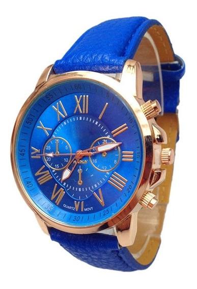 Relógio Pulso Original Geneva Couro Pu - Azul - Frete Grátis
