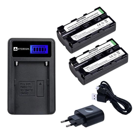 Carregador +2x Bateria Sony F570 F550 Batmax F750 F970 +nf