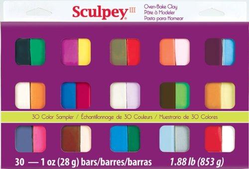 Sculpey Iii Oven Bake Clay Sampler 1 Oz, 30 / Paquete