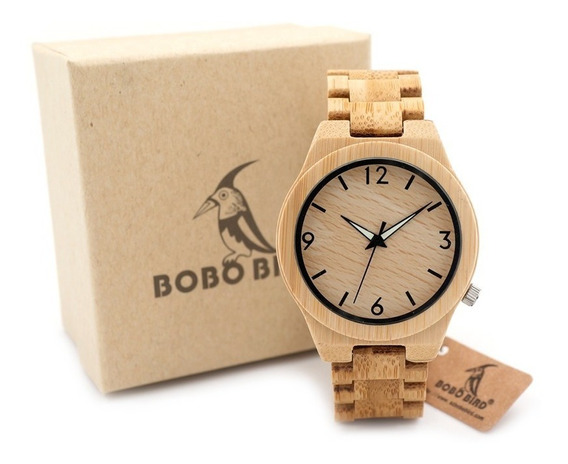 Relógio Unissex Bambu Madeira D27 Anal. Bobo Bird