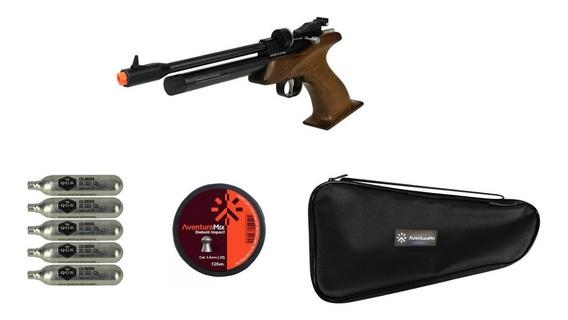 Pistola De Pressão Co2 Cp1-m Cabo Madeira 5.5mm + Acessórios