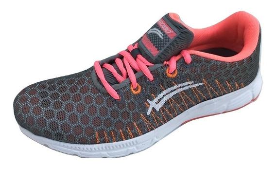 Tenis Mujer Karosso 8010 Correr Deportivo Textil Gris Coral