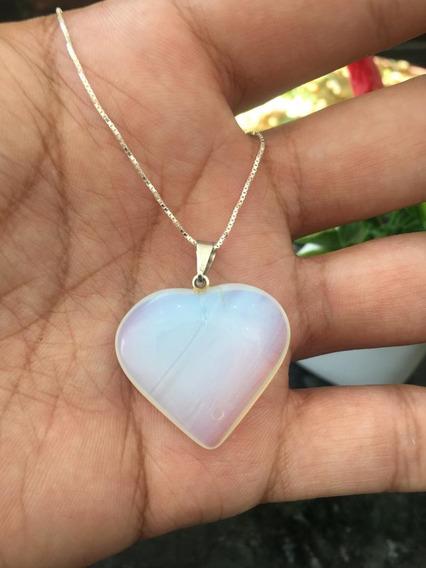 Colar Cordão Pingente Coração Pedra Da Lua Prata 925