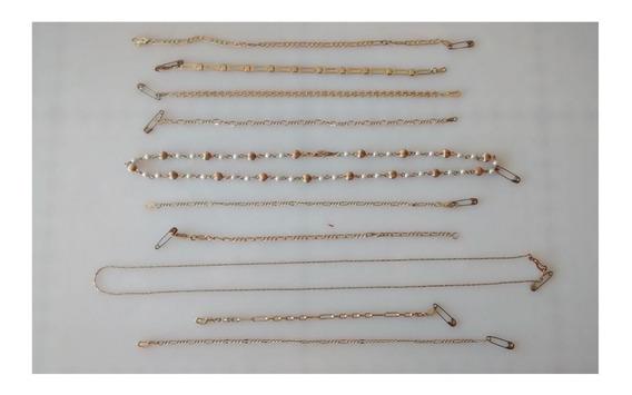 Lote De 10 Piezas Pulsera Y Collar Chapa De Oro 22k Y 18k